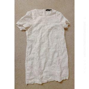 Zara White 100% Linen Embroidered Mini Dress Small